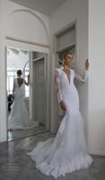 Wholesale Long Sleeves Pnina Tornai - 2015 Sexy Lace Mermaid Wedding Dresses Beaded V neck Backless Sweep Train Long Sleeves Pnina Tornai Bridal Gowns