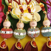 Wholesale Gourd Bags - Color Tassel Hanging Glass Gourd Pendant Beautiful MINI Rhinestone Gourd Interior Decoration Bag Accessories Birthday Gift 10pcs lot SK390
