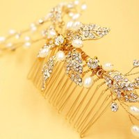 Wholesale Hair Barrette Crystal Handmade - Free Shipping Bridal Hair Accessories 2016 Handmade Gold Beads Girl's Party Headpieces Pearls Wedding Hair Bands Accessory for Bride CPA485