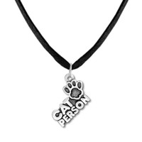 Wholesale Paw Floating Charm - Fitness Jewelry Zinc Alloy Antique Silver Floating Cat Person Letters with Cat's Paw Prints Charm Chain&Rope Pendant Necklaces