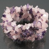 Wholesale-7 String Natural Amethyst Rosenquarz Mix Stein Chip Beads Frauen Armreif 7
