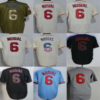 Wholesale factory st - Factory Outlet Mens Womens Kids Toddlers St Louis 6 Stan Musial Beige White Black Green Blue Grey Cool Base Flex Base Baseball Jerseys