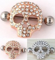 Wholesale Nipple Jewellery Piercing - 2015 New Style Body Jewelry Skeleton Skull Shield Nipple Bar Sexy Ring Punk Nipple Piercing Body Jewellery Nipple Rings 2 Colors