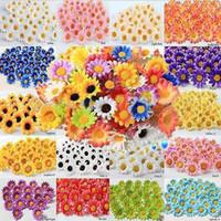 Wholesale Artificial Sun Flowers - Wholesale-50pcs 4cm 10Colors Artificial Wedding Silk Sun Flower Daisy Head Home Room Party Decor Favors Decorations Table Centrepieces