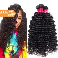 preços de extensões de cabelo preto venda por atacado-7A preço Barato cabelo humano weave 3 bundles extensões de cabelo de onda profunda cabelo virgem indiano cor preta trama de onda profunda