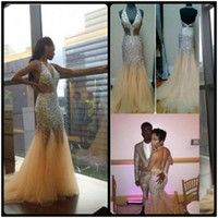 Wholesale Size 16 Pageant Dresses Glitz - Fabulous Glitz Crystals Sequined Bodice Sexy V Neck Prom Dresses Hot Sale Modern Backless Champagne Tulle Pageant Gowns