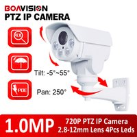 Wholesale Outdoor Wired Pan Tilt - HD 720p PTZ IP Camera With POE 1.0MP VariFocal 2.8-12mm Lens Pan Tilt Rotation Outdoor Bullet IP Cameras,Card Sot,Array Leds