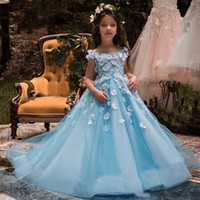 Wholesale Ice Blue Pageant Ball Gowns - Lovely Ice Blue Sheer Neck Girls Pageant Dresses with Flora Appliques Gowns Hollow Back Children Flower Girls Dresses Birthday Party Dress
