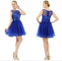 2017 abiti da ritorno a casa Royal Blue short abiti da sposa Glitter perline e sequins A Line Jewel Pura Shell Zipper Back Tulle Cheap Cocktail Dress