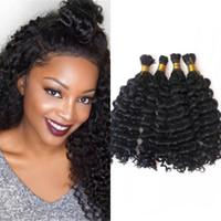 Wholesale human braiding hair deep wave online - Deep Wave Human Hair Bulk for Black Women Natural Color Malaysian Braiding Hair Bulk No Weft FDshine