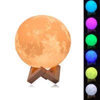 Wholesale Color Changing Led Christmas Tree - Rechargeable Night Light 3D Print Moon Lamp 9 Color Change Touch Switch Bedroom Bookcase Nightlight Home Decor Creative Gift