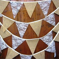 Wholesale Bunting Flags - Hessian Jute Flag Triangle pennant Baby Shower Rustic Wedding Party Decorations Burlap Lace Bunting Banner