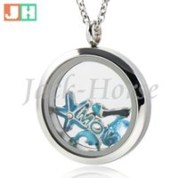 Wholesale Wholesale Floating Glasses - Water Proof floating lockets 316L stainless steel twist glass living floating charm locket 20mm 25mm 30mm