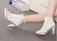 Wholesale Denim Pumps - New Spring 2016 single shoes, leisure white denim high heels for canvas shoes rivets shoes sneakers personality
