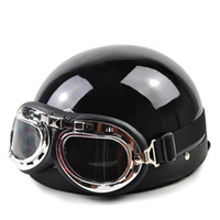 All'ingrosso-New Vintage Style Motorcycle Riding Casco Bandiera nazionale Open Face Half Chopper Cruiser Scooter Touring Helmet Goggles Visor