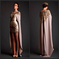 Wholesale Gray Lace Shawls - 2015 Special Krikor Jabotian Two Piece Prom Dresses Crew Neck Applique with Bead Mini Length Detachable Shawl Long Train Formal Prom Gown