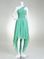 ingrosso vestiti di promenade verde menta modesto-2017 Una spalla verde menta Prom Dresses Under 100 Modest High Low Chiffon Abiti da sera Celebrity Dress