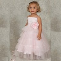 Wholesale Store Dresses Girls Wedding - 2015 Cute Pink Flower Girl Dresses With Flower Tiered Girls Dresses Vestido Daminha Casamento Girls Communion Dresses Store Online