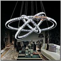 anel luminoso venda por atacado-3 Anéis De Cristal LEVOU Lustre Pingente Luminária de Cristal Luz Lustre Pendurado Suspensão Luz para Sala de Jantar, Hall de Entrada, Escadas