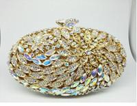 ingrosso scatole frizione diamanti-Confezione regalo Lady Borse da sera vintage di lusso con diamanti Borse da donna con fiori in cristallo placcato oro reale Pochette da sposa
