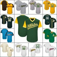 Wholesale Road Number - Custom Oakland Baseball Jerseys mens Womens Youth White Home Gray Road Blcak Green Stitched Any Name Any Number Flex Base Cool Base Jerseys