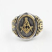Wholesale Masonic Silver - Freemason Mens Boys Gold Silver Free Mason 316L Stainless Steel Masonic Ring New