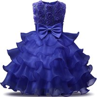Wholesale real wedding tea length dresses resale online - 2020 Vintage Lovely Ivory Baby Infant Toddler Baptism Clothes Flower Girl Dresses With Lace Bow Tutu Ball Gowns In StockCheap