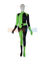 Wholesale Kids Hero Halloween Costumes Girls - Customized Movie Kim Possible Female Shego Costume Lycra Spandex Super Villain Halloween Cosplay Shego Women Girls Body Suit Free Shipping