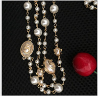 Wholesale Gray Pearl Beaded Necklace - 2016 Fashion Women Golden Chain No 5 Elegant beaded pearl Design long sweater chain necklaces strands strings Christmas gift