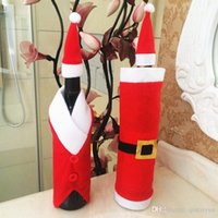 Wholesale Wine Bottle Design Dress - 2Designs Christmas Decorations Wine Bottle Bag Red wine bottle Cover Bag Dress Design with Cap Christmas commodity Christmas ornament B244-6