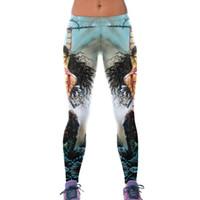 Wholesale Women Combat Pants - 2017 New 79840 Fashion Combat Goddess 3D Prints Sexy Girl Pencil Yoga Pants GYM Fitness Workout High Waist Women Leggings