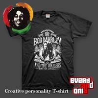 Wholesale Camisetas Bob Marley - 1512 High Quality Bob Marley Live Free Reggae Rasta Black 100% Cotton Casual Loose Printing T-shirt Tee T Dress Camisetas Clothing