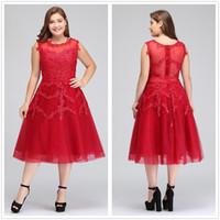 diz boyu kırmızı resmi elbise toptan satış-Gerçek Görüntü Artı Boyutu Kırmızı Dantel Kısa Kokteyl Elbiseleri Tül Dantel Boncuklu Diz Boyu Bir Çizgi Örgün Parti Abiye CPS298
