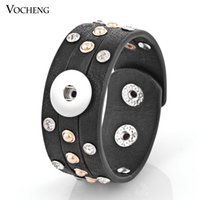 Wholesale Silver Inlaid Bracelet - NOOSA Snap Charms Bracelet 4 Colors 18mm Button Jewelry Inlaid Crystal PU Leather VOCHENG NN-306