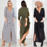 Новый дизайн Vestidos 2016 Summer Autumn Women Casual Loose Deep V Neck Long Maxi Dress Sexy Split Chiffon Dress Plus Размер