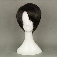 Wholesale Attack Titan Wigs - Wholesale-High quality Japanese Anime Attack on Titan Levi Rivaille Cosplay Wig Short Black Hair + a Wig Cap Free shipping