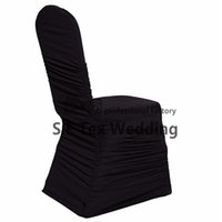 Wholesale Spandex Ruffle Chair Covers - Hot Sale All Ruffled Lycra Spandex Chair Cover For Event Decoration Banquet Wedding Chair Cover Free Shipping