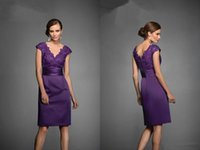 Wholesale Knee Length Lace Ruched Dresses - 2015 Lace Appliques Ruched Stretch Satin Knee Length V Neck Mother Of The Bride Dress