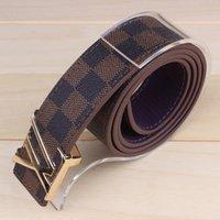 Wholesale Boys Waistband - Men Brand PU Leather Belt For Male Designer Pin Buckle Strap Belts Boy Plaid Girdle Man Waistband Ceinture Homme Courroie LV0125