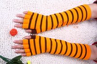 Wholesale Korean Fingerless Gloves - Wholesale-Korean striped fingerless gloves are men and women dance long half finger arm sleeve stripes factory direct wholesale