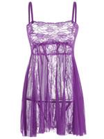 uyku hali uykusu toptan satış-Babydoll Sexy Lingerie Elbise Askı Sheer Hollow Dantel Erotik Gecelik Seksi Kostüm Fantasias Uyku Elbise + G-string
