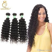 Wholesale Remy Deep Waves - Brazilian Virgin hair Weave Bundles Deep Wave 1B No Shedding No Shedding Unprocessed Remy human hair extension Queenlike Silver 7A Grade