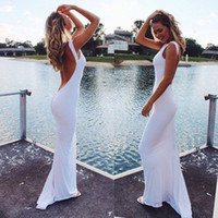 Wholesale dress white spandex wedding for sale - Group buy New Bridal Gown White Spandex Scoop Floor Length Sheath Backless Open Back Low Back Sexy Long Beach Wedding Dresses