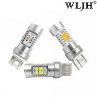 Wholesale led tail lights amber - WLJH 7440 7443 LED T20 Car Led Light W21 5W Auto Lamp Parking Brake Lights Turn Signal Tail Bulb Amber Yellow Red White