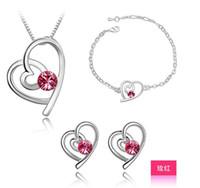 zirkon taşlı küpe seti toptan satış-En İyi Bilezikler Stud Küpeler Kolyeler Austria Zircon Crystal Necklace + Küpeler + Bilezik Lover Çift Kalp Takı Seti Rhinestone Jewellry