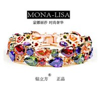 Wholesale Champagne Brides Jewelry - Wholesale-18K Rose Champagne Gold Plated Mona Lisa Multicolor Cubic Zircon Bracelet Bangles For Women Luxury Bride Wedding Party Jewelry