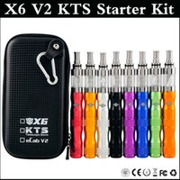 Wholesale Kts X6 V2 - E Cig X6 V2 KTS Starter Kit with 1300mAh Variable Voltage X6 Battery 2.5ml V2 rebuildable clearomizer Vaporizer Kit Zipper Carrying Case