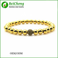 Wholesale 6mm Rope Chain - BC Anil arjandas brand men bracelets,24K gold 6mm round beads & 6mm Micro Pave Black CZ Beads Braiding Macrame Bracelet Fit Men BC-227