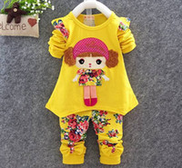 Wholesale Childrens Fall Outfits - baby clothes baby girls sets infant girls spring fall outfits childrens long sleeve doll top tshirts + flower pants girls boutique clothing