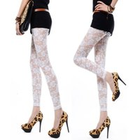 Wholesale Sexy Footless - Wholesale-Black White Rose Lace Through Leggings Pants Footless Sexy For Women Lady